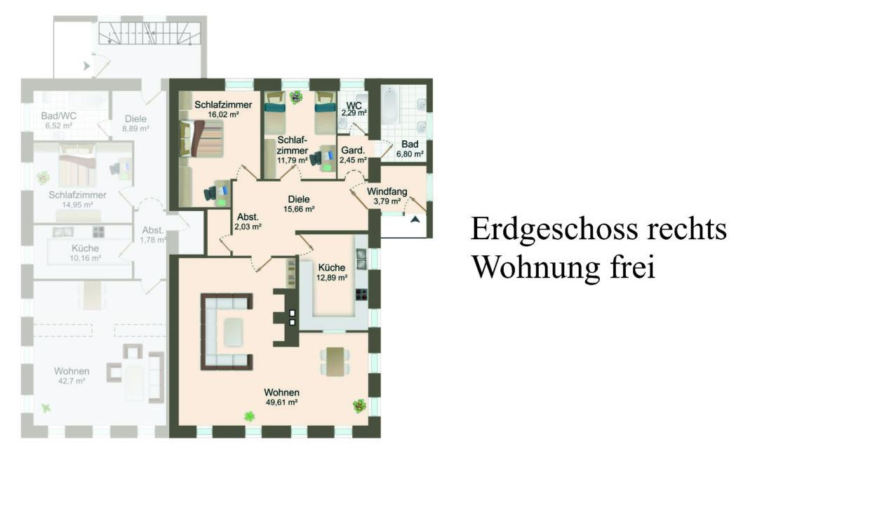 Erdgeschoss rechts - Wohnung frei